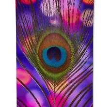 "Peacock Feather Beach Towel 55"" NEW Summer Pretty Picture Purple"