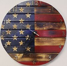 Rustic Wooden American Flag Clock (round)