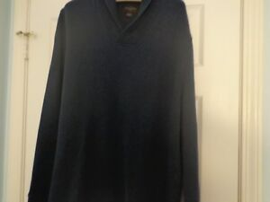 Black & Brown 1826 XXL designer navy pullover shawl collar 100% cotton