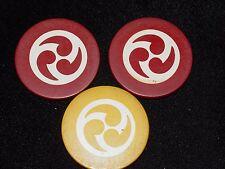 3 Vintage Bakelite Inlay Design 2 Red 1 Gold Gambling Poker Chip