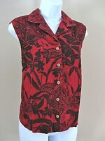 Erika Size M Red Black Floral Sleeveless Linen Blend Blouse