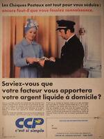 PUBLICITÉ DE PRESSE 1972 LE CCP C'EST SI SIMPLE - FACTEUR - ADVERTISING