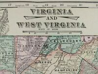 "VIRGINIA & WEST VIRGINIA 1900 Vintage Atlas Map 22""x14"" Old Antique RICHMOND"