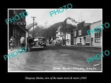 OLD LARGE HISTORIC PHOTO OF SKAGWAY ALASKA THE MAIN STREET & STORES c1945