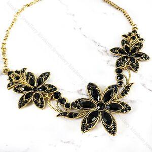 Black Gothic Statement Necklace Bib Luxury Fancy Punk Flowers Choker Fashion