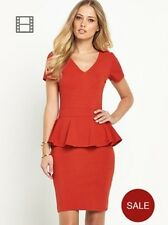 BNWT Definitions Red Bodycon Wiggle Peplum Dress Size 10 Stretch RRP £37