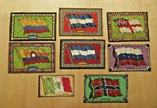Lot Of 8 Antique Flannel Tobacco Premium Flags/Felts Foreign Countries