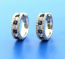 18K WHITE GOLD SAPPHIRE AND DIAMOND HUGGIE EARRING