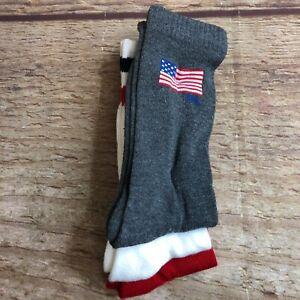 Ralph Lauren Mens One Size Red/White/Gray 3-Pairs Crew Socks America NWOT