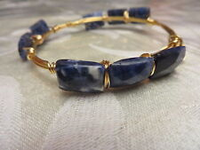 Sodalite Bangle Bracelet Gold Plated wire $79