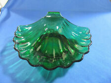 Vintage Anchor Hocking Forest Green Glass Shell Soap Dish Dessert Bowl