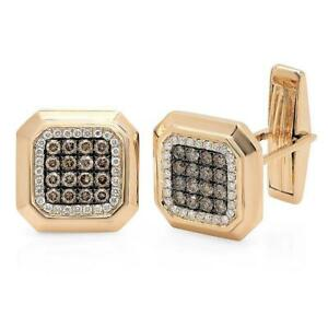 14K Yellow Gold Diamond Cuff Links Natural 1.08CT Round White Champagne Octagon