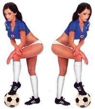 KIT PEGATINAS fussballspielerin Pin Up Girl 17x6cm SOCCER Calcomanía Chica