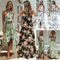 UK Women's Holiday Maxi Long Dress Sleeveless Ladies Summer Print beach dress
