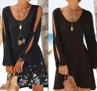 Women O-Neck Hollow Out Long Lantern Sleeve Print Beach Style Loose Mini Dress