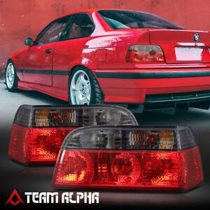Fits 1992-1999 BMW E36 3-Series 2Dr{EURO CRYSTAL}Red/Smoke Brake Lamp Tail Light