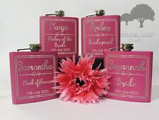 Personalised Engraved 6oz Pink Hip Flask.brides favours gift Box phf14