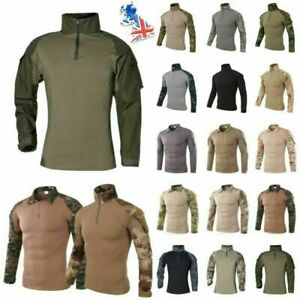 Mens Army Tactical Military Camo Uniform Airsoft Combat Long Sleeve T Shirt Tops