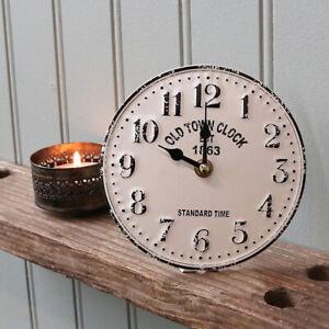 Vintage Style Metal Table Mantle Clock, 15cm - Antique White