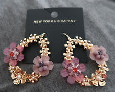 Floral Hoop Drop Earring purple gold Msrp24.95 New York & Company Nyc Faux Pearl