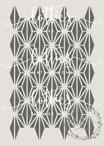 A4 STENCIL - GATSBY 007 Art Deco 1920 PATTERN Fabric Furniture Vintage 190 MYLAR