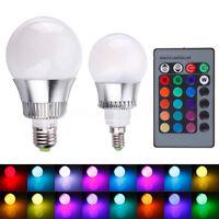 5W 10W E27 E14 RGB Color Changing LED Light Lamp Bulb 85-265V + Remote Control