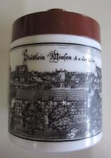 Echt Opaline Milk Glass Canister with Lid- Scene of German Village - 1970s
