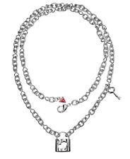 GUESS Halskette / Collier UBN81067 mit Schloß und Schlüssel versilbert