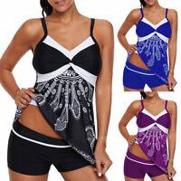 Women Tankini Bikini Set Push-up Padded Floral Swimsuit Bathing Suit Swimwear