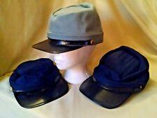 Kepi Hat Lot 3 New Unused 2 Blue 1 Gray Civil War Reenactment Play Props Cap.