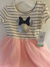 Disney Toddler Girls 4T Dress Minnie Mouse Pink Tulle Short Sleeve New