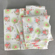 Vintage Flannel Fabric White Peach Green Blue Floral 2 Yds Plus Smaller Pieces