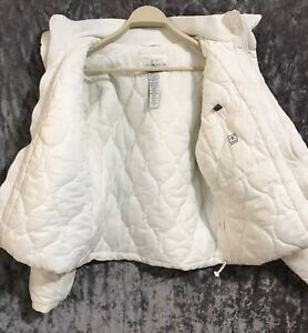 Calvin Klein Women Jacket White Size Large L  Puffer Quilted Coat  EUC
