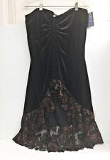 Casadei Evening Collection Womens Maxi Skirt Black Velvet Copper Lace Party  XL