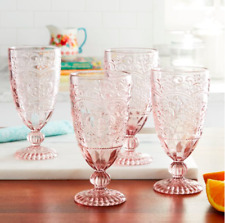 The Pioneer Woman 14.7oz. Amelia Tea Goblets Set of 4 Drinkware Glass in Pink