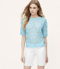 NWT Ann Taylor Loft Lace Blossom Tee Color Blue Size MP