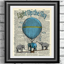Art print on antique dictionary book page nursery baby blue elephant nursery art