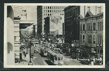 CA San Diego RPPC 1944 STREET SCENE Fifth & Broadway TROLLIES  Stores CARS