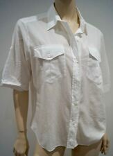 MARGARET HOWELL White 100% Cotton Collared Short Sleeve Casual Blouse Shirt Top