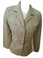 TALBOTS Ladies Size 10 Khaki Unlined Jacket/Blazer-3 Button Closure-Pockets-EUC