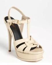 YSL Yves Saint Laurent Beige Tribute T-Strap Patent Leather Heels Size 37