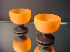 Lorrain Nancy Art Glass Orange Acid Washed Liqueurs or Martinis Art Deco France
