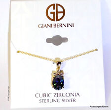 "Giani Bernini Cubic Zirconia Gold Oval Pendant Necklace 18"" $120.00 new"
