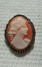 Antique/Vintage Shell Marcasite Cameo Maiden Lady Pendant/Brooch 930 Silver