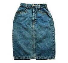 Vintage 80's Faded Denim Skirt Retro Boho 6