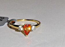 10K Yellow Gold Orange Spessartite Pear & White Zircon Ring, Size 8, 1.32(TCW)