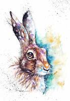Meadow Hare ,Sale,Original ,Watercolour ,Print ,Card, Gift, Wildlife,Animal,Art,