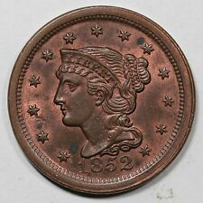 1852 N-5(a) R-2+ E-MDS Braided Hair Large Cent Coin 1c Ex; Grellman