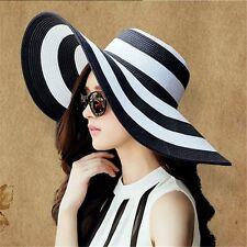 Women's Summer Beach Sun Hat Wide Brim Straw Striped Floppy Elegant Boho Cap
