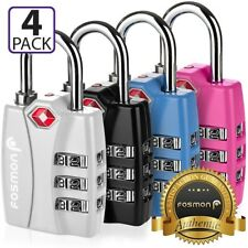 Fosmon 4x TSA Approve [3 Digit Combo Dial] Travel Suitcase Luggage Lock Padlock